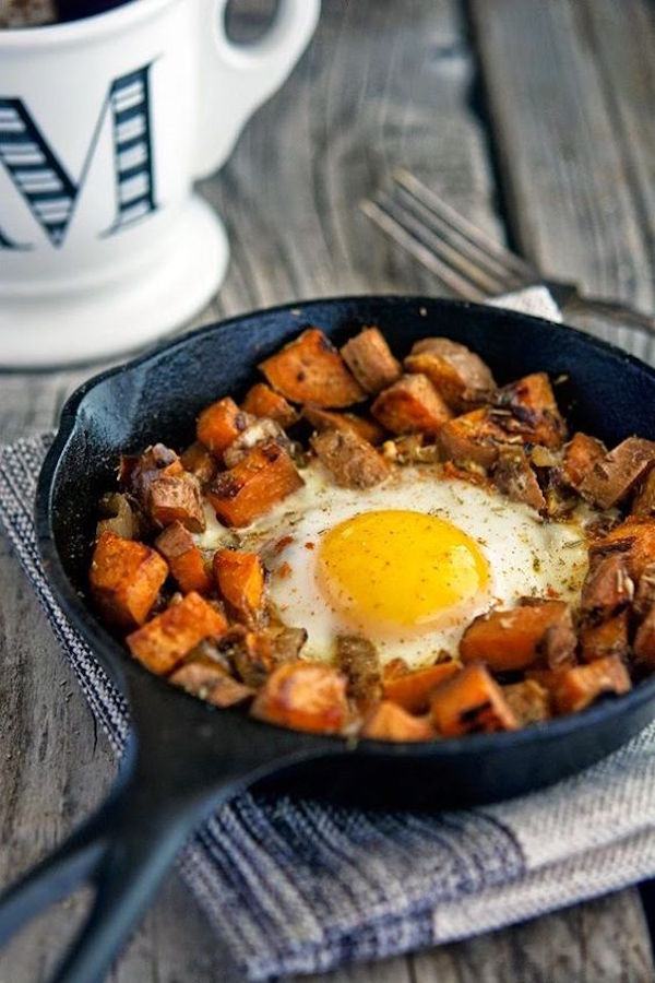 The Iron You_Sweet Potato and Caramelized Onion Hash with Baked Eggs