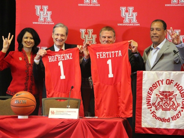 Renu-Khator-Fred-Hofheinz-Tilman-Feritta-Kevin-Sampson-at-press-conference-to-rename-Hofheinz-Pavilion-to-Feritta-Center_112100